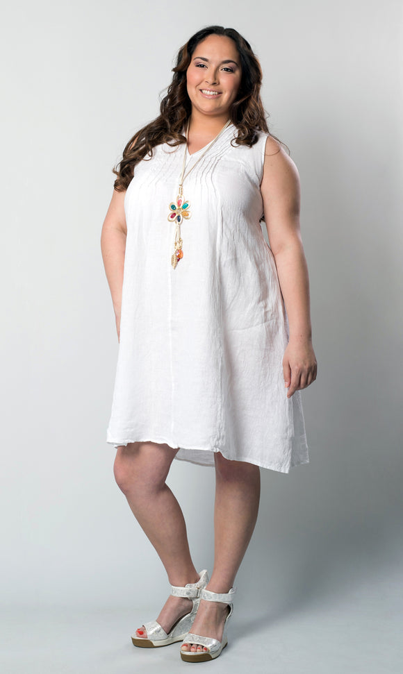 M Made in Italy - Linen Sleeveless Midi Shift Dress Plus Size