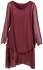 M Made in Italy - Long Sleeve Silk Dress with  Layers