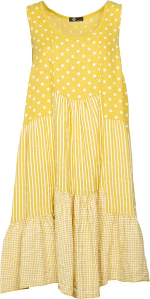 M Made in Italy -  Sleeveless Polka Dot and Stripe Dress Plus Size