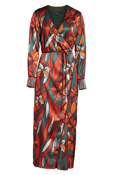 Forest Lily - Floral Wrap Maxi Dress