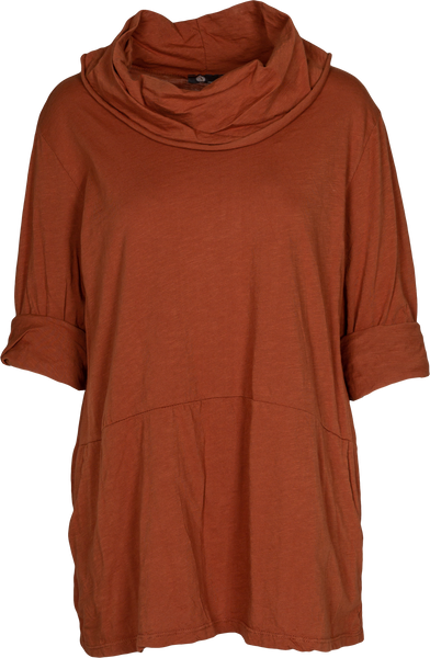 Cowl Neck Sweatshirt Tunic with Seam-Detail