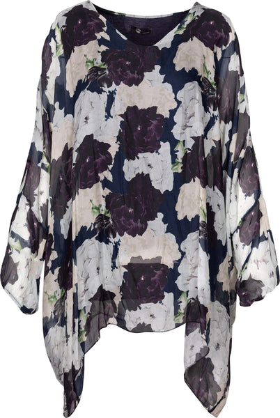 M Made in Italy - Tunic with Silk Floral Overlay