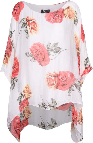 M Made in Italy - Women's Floral Cape Sleeve Blouse Plus Size