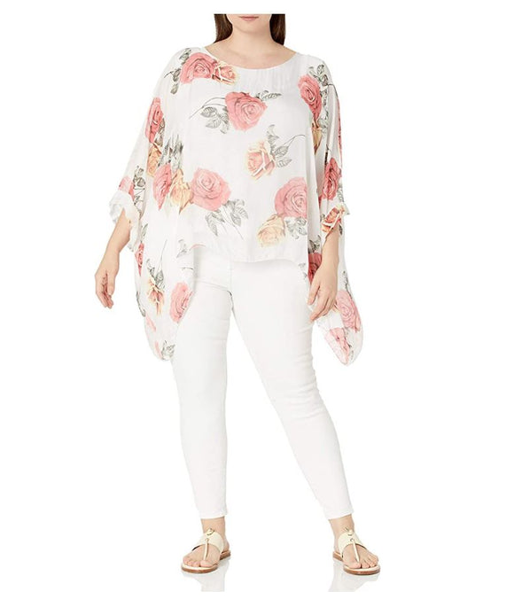 M Made in Italy - Floral Cape Sleeve Blouse Plus Size
