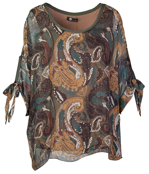 Women's Paisley Scoop Neck Blouson