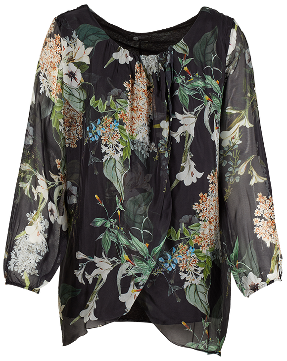 M Made in Italy - Floral Silk-Blend Layered Tunic