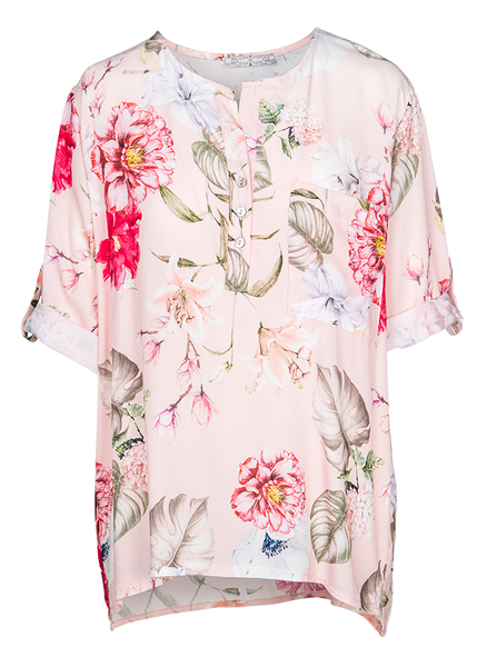 M Made in Italy - Women's Floral Shirt with Button Down Collar