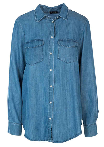 M Made in Italy - Women's Button-Up Denim Shirt Plus Size
