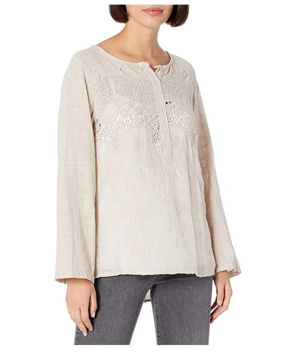 M Made in Italy - Women's Crochet Accent Blouse