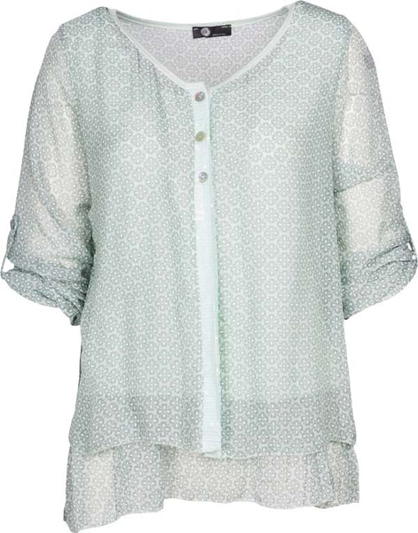 Women's Double-Layered Button-Up Shirt