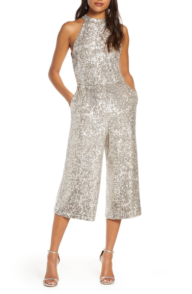 Forest Lily Crop Sequin Jumpsuit