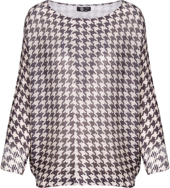 M Made in Italy - Houndstooth Scoop Neck Sweater
