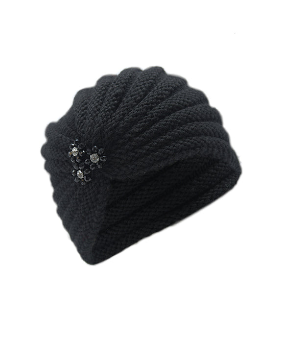Ema&Carla Knitted Hat with Beaded Flower Decoration