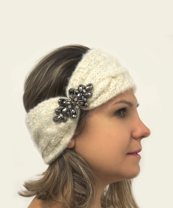 Ema&Carla Knitted Headband with Beaded Flower Decoration
