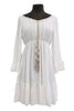 M Made in Italy - Tassel Tie Neck Dress with Ruffle-Tiered Hem