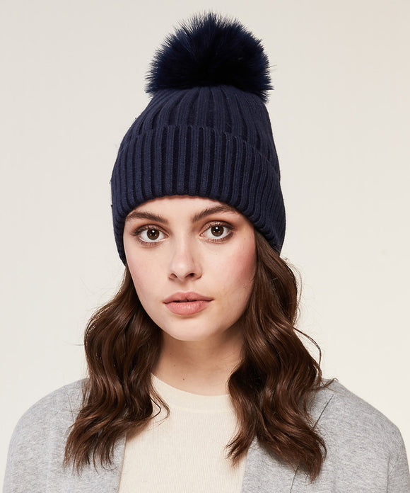 SOIA & KYO  Ciel Rib Knit Hat with Removable Feather Pom Pom