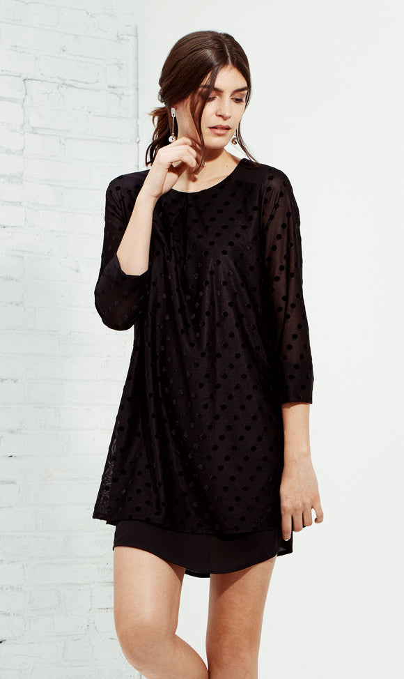 Velvet Dot Long-Sleeve Shift Dress