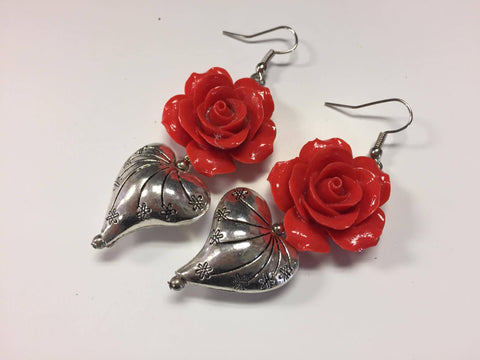 Heart and Red Rose Earrings