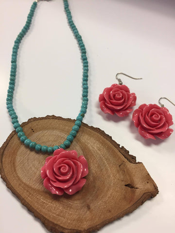 Pink Rose Necklace and Earring Set