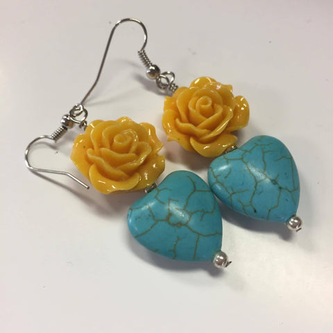 Yellow Rose Heart Earrings