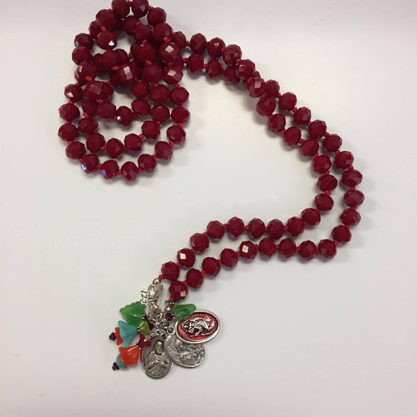 Cherry Red Beaded Saint Charm Necklace