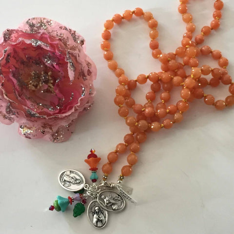 Tangerine Beaded Saint Necklace