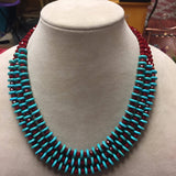 Red/ Turquoise Beaded Necklace
