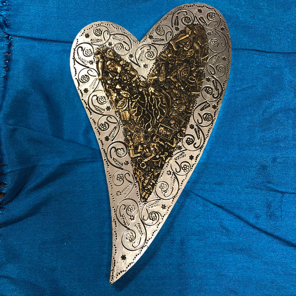 Pewter Wood Hearts