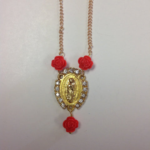 Virgen Gold Plated Rosary Necklace