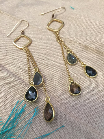 Multi Gem Earrings by Karlita Designs