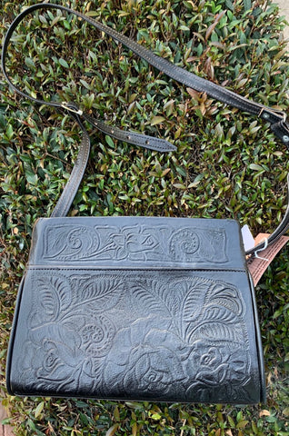Leather Handbag with Zipper Opening