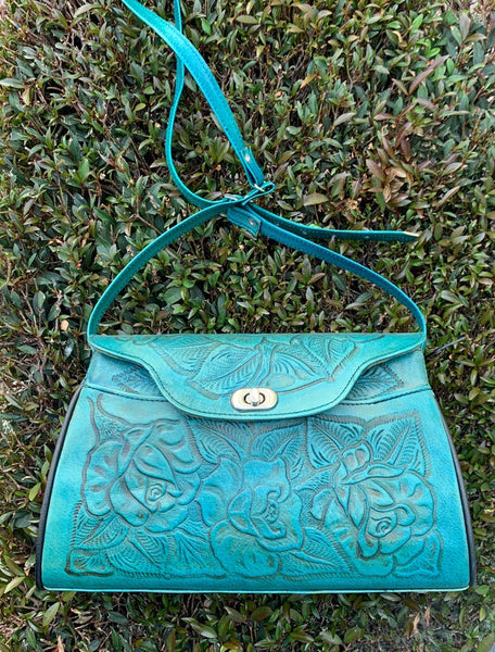 Fold Over Latch Leather Handbag