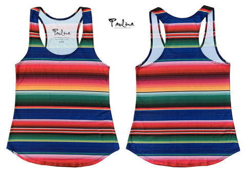 Sarape Stripe or Maya Mexican Print Racer back Tank by Paulina