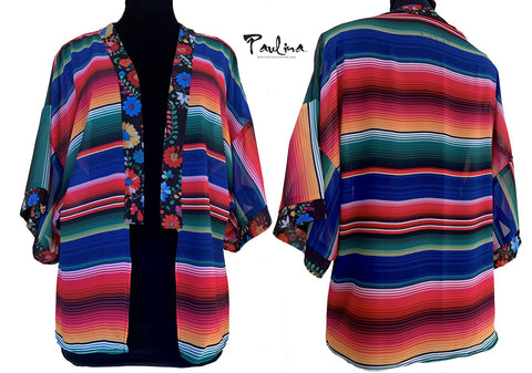 Serape Stripe Open Front Semi Sheer Kimono Cover Up Cardigan by Paulina