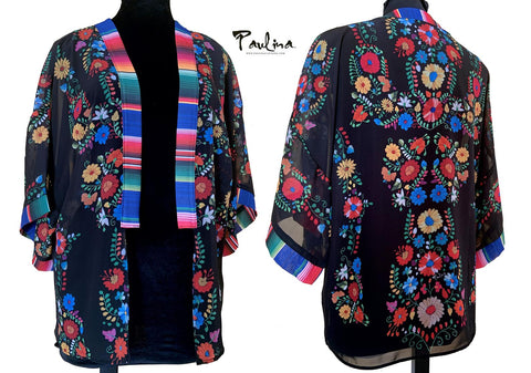 Maya Floral Open Front Semi Sheer Kimono Cover Up Cardigan by Paulina
