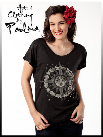 Paulina Designs Sun, Moon & Stars Vintage Inspired Dolman Relaxed Fit Galaxy Tee