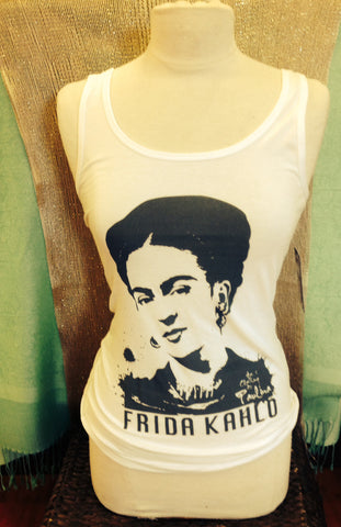 Paulina designs white Frida Kahlo portrait tank