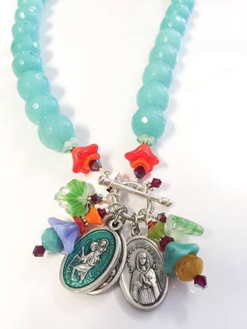 Turquoise crystal necklace by Cynthia Morehouse