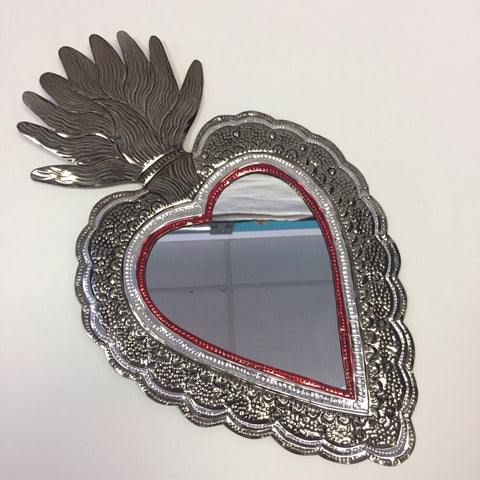 Large Tin Heart Mirrors