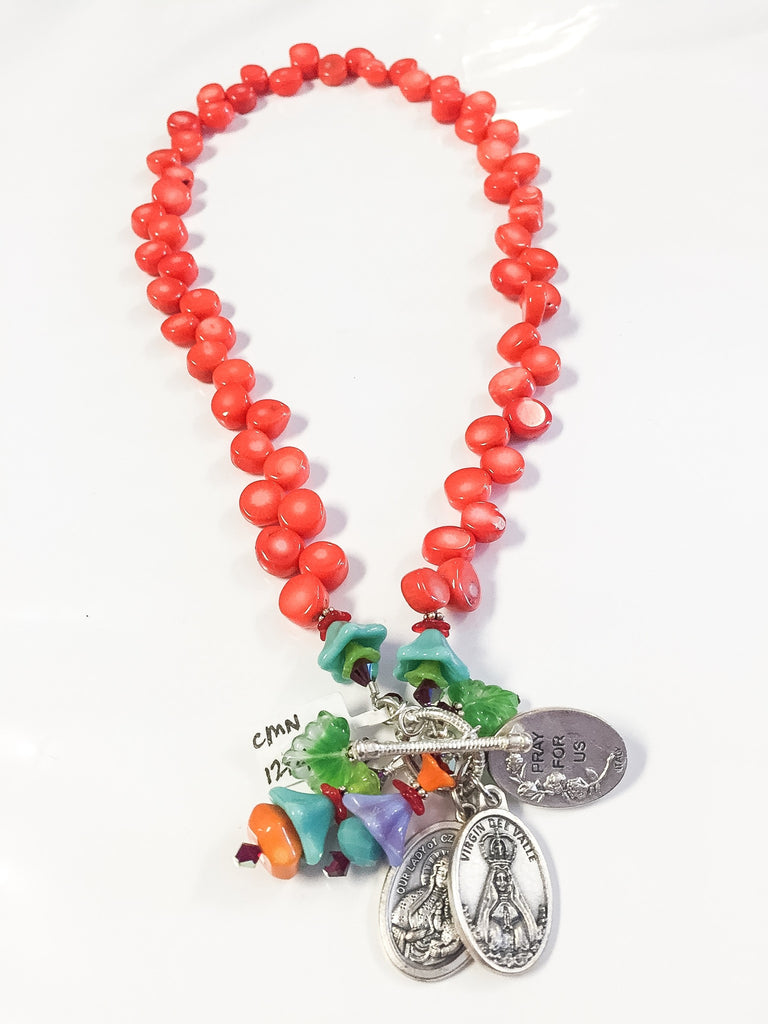 Orange coral necklace by Cynthia Morehouse