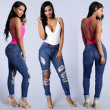 New Sexy Women Ripped Jeans High Waist Holes Functional Pockets Destroyed Skinny Jeans Blue - g-y-mega-store