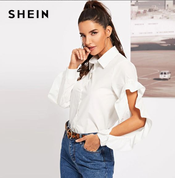 db405512a ... SHEIN White Office Lady Solid Ruffle Trim Button Up Open Sleeve Elegant Shirt  Blouse Autumn Workwear ...
