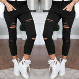 Women's Fitness Leggings High Wasit Elastic Pencil Pants Workout Women Slim Trousers Hole Ripped Jeans Legging Clothes - g-y-mega-store