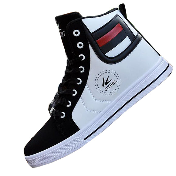 Autumn High Tops Quality For Men Casual Leather Boots Lace Up Black White Gold Color style Men Fashion Shoes Xmas gift - g-y-mega-store