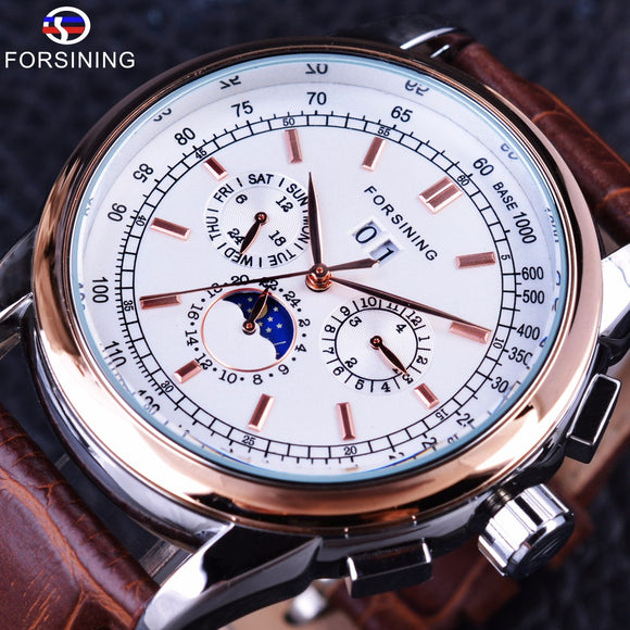 Forsining Rose Golden Elegant Moon Phase Design Calendar Display Brown Leather Mens Watch Top Brand Luxury Automatic Watch Clock - g-y-mega-store