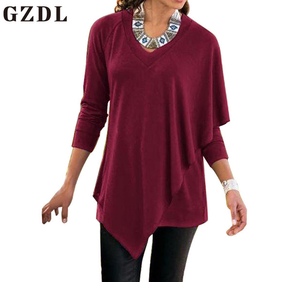 GZDL Casual Autumn Winter Sweater Blouses V Neck Screw Thread Full Sleeve Clothing Fashion Women's Irregular Long Blusas CL3459 - g-y-mega-store
