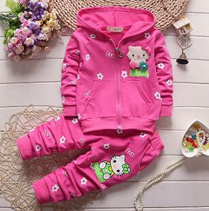 2017 Spring Autumn Baby Girls Clothes Set Cartoon Hello Kitty Casual Sport Hoodied Suit Children Cardigan Sweaters+Pant Set
