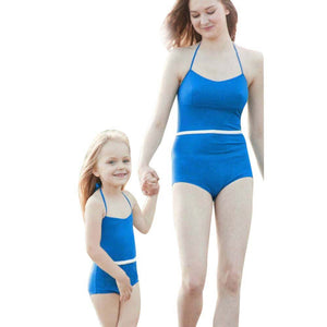 Mother Daughter Swimsuit Women Bikini 2017 Halter Solid Color Plus Size Girls Swimwear Bathing Suit Bikini Beachwear #ES - g-y-mega-store