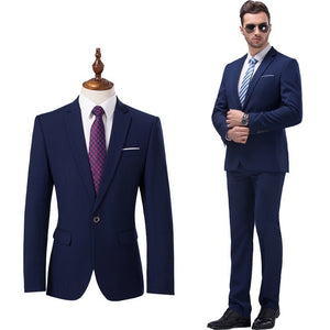 ( Jackets + Pants ) Premium Brand High Quality Pure Color Groom's Man Fashion Wedding Dress Suit Men's Formal Business Suit