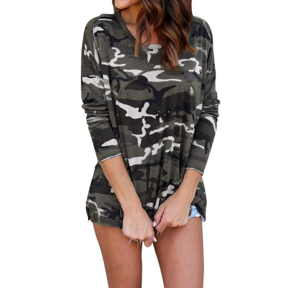 Hot Sale Women Camouflage Blouse Fashion Autumn Long Sleeve Top Blouse Lace Up Casual Blouses Shirts Tops - g-y-mega-store